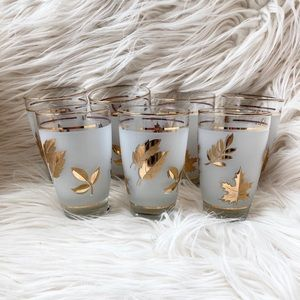 Vintage Libbey Glasses- Golden Foliage Pattern